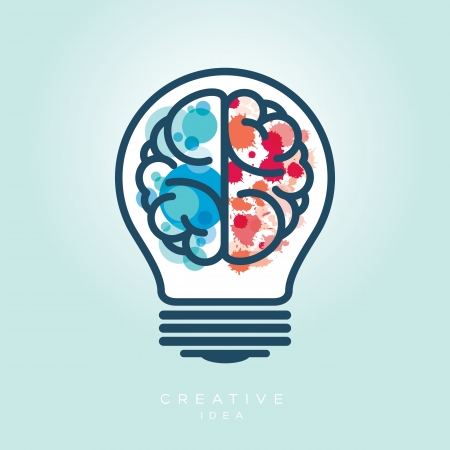 Creative Light Bulb Left and Right Brain Idea Vector Icon