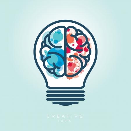 contemplating: Creative Light Bulb Left and Right Brain Idea Vector Icon