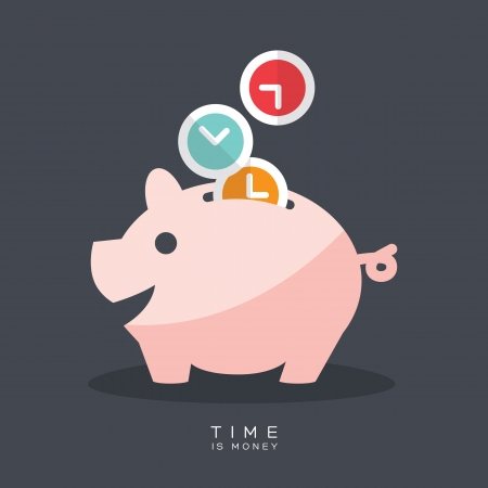 time: Time is Money Piggy Bank Vector Illustration