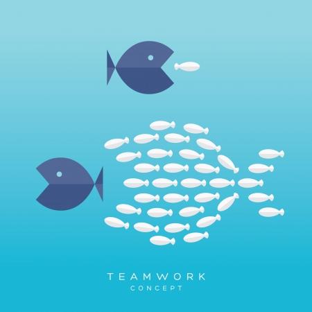 Concepto del trabajo en equipo. Ilustración con Big Fish persiguiendo peces pequeños y el grupo Pescado persiguiendo Big fish