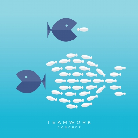 business symbols and metaphors: Teamwork Concept. Illustration with Big Fish chasing Small fish and Fish group chasing Big fish Illustration