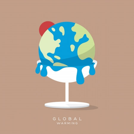 Global Warming Concept Ice cream earth melts minimal style Illustration