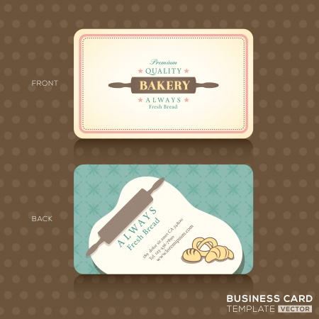 carte visite: Magasin de boulangerie avec roulement Carte de visite broches Mod�le de conception Illustration
