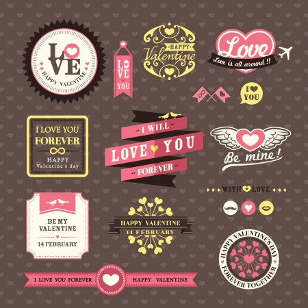Wedding and Valentine's day Elements labels frames Vintage Style Stock Vector - 25189846