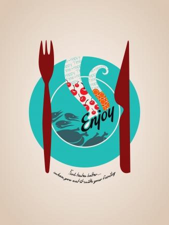 Happy meal concept Illustration plate with fork and knife graphic Ilustração
