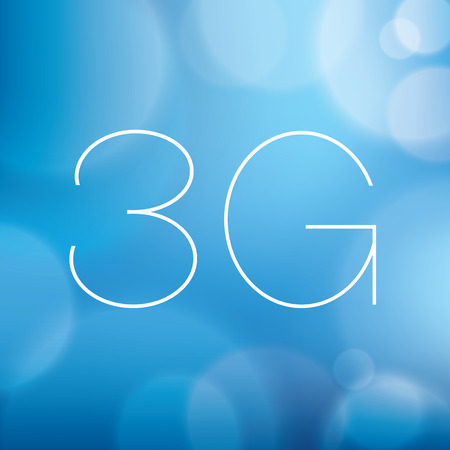 3g: Wireless 3G icon on blurry blue background