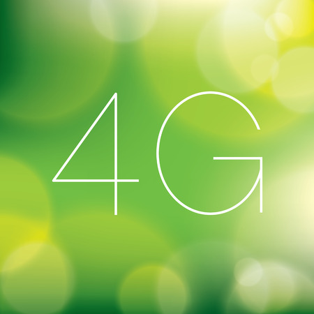 4g: Wireless 4G LTE icon on blurry green background