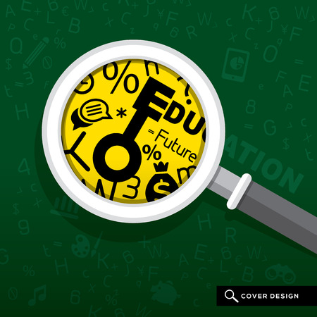 Magnifying glass on school board with Education concept Illustration Vector
