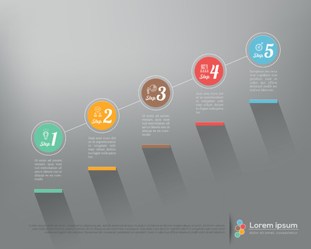 step up: Modern business step by step options infographics Vector graphic design template