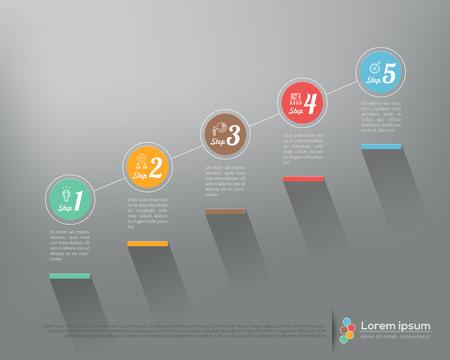 escalera: Paso moderno del asunto por opciones de pasos de infograf�a vector plantilla de dise�o gr�fico