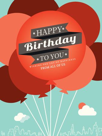 birthday cartoon: Happy Birthday card design template balloon illustration