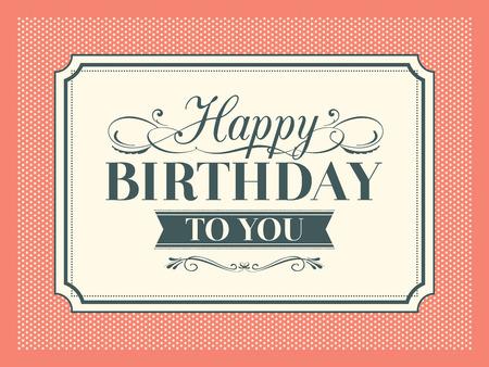 Diseño del marco de la tarjeta del feliz cumpleaños de la vendimia Ilustración de vector