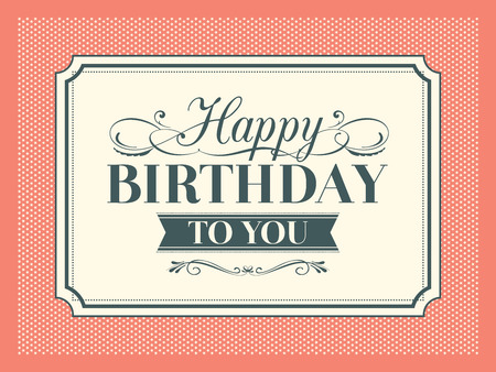 Vintage Happy Birthday card frame design  Vector