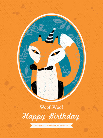 Cute Fox Animal Cartoon Birthday card design Vector