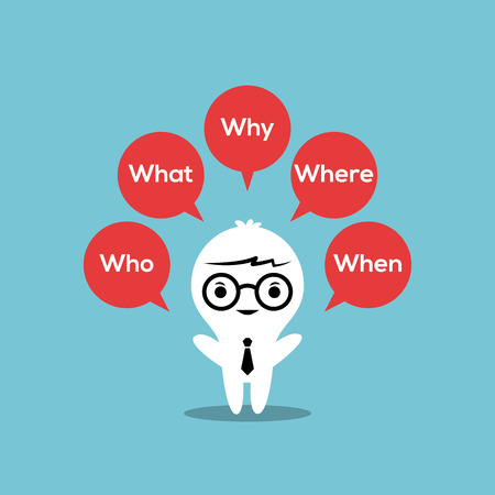 knowledge concept: 5w strategy : Who, What, Where, When, Why illustration