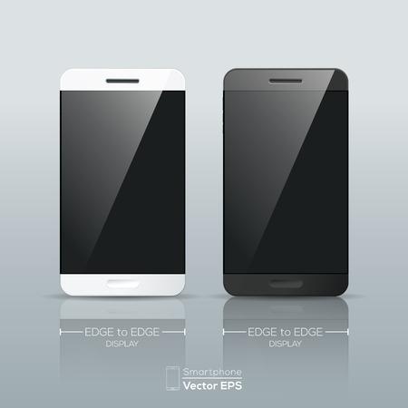 клетки: Реалистичная черный и белый смартфон иллюстрация изолированных Иллюстрация