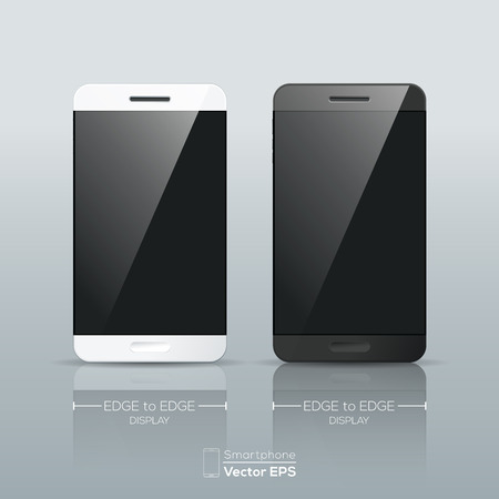 smartphone apps: Realistic black and white Smart phone Vector isolated