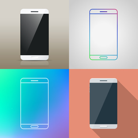 smartphone apps: Set of Vector Smart phone in different style  Realistic  flat design  outline icon