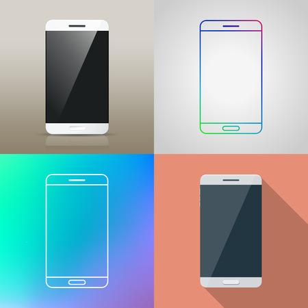smart: Set van Vector Slimme telefoon in een andere stijl  Realistisch  platte ontwerp  schets pictogram