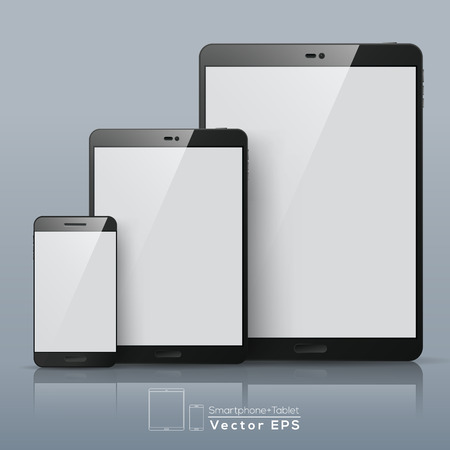 lcd display: Set of Vector Smart phone and Tablet with blank screen Illustration
