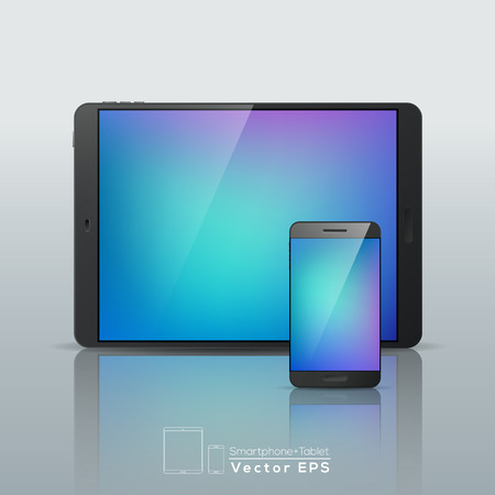 multi touch: Vector modern Smartphone Tablet isolated illustration Illustration