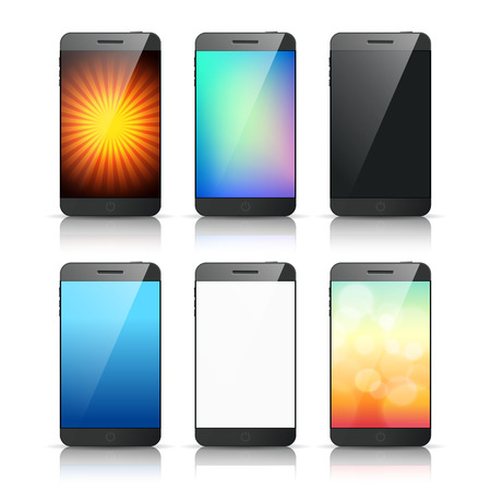 Set of smart phone with variety screen background vector Vector