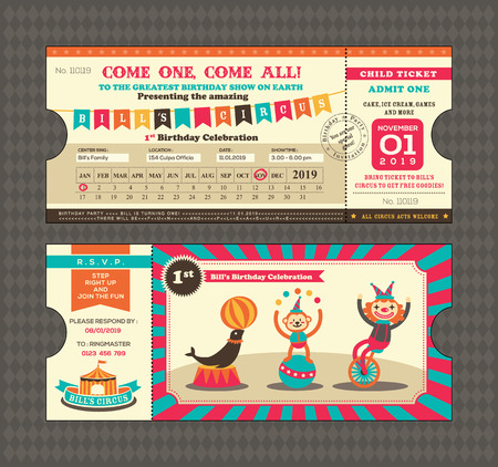 circus clown: Birthday card with Circus Ticket pass design Template Illustration
