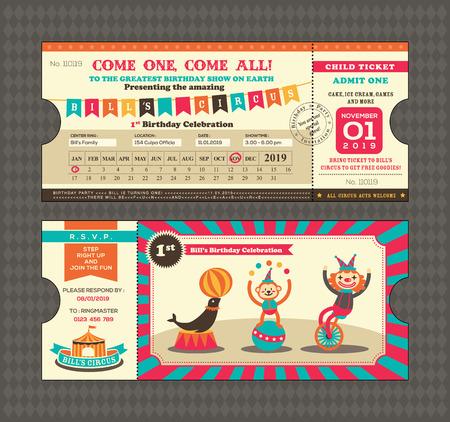 boarding card: Scheda di compleanno con passaggio Circo Ticket Template design