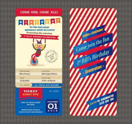 fondo de circo: Tarjeta de cumpleaños con la plantilla de estilo del documento de embarque de entradas