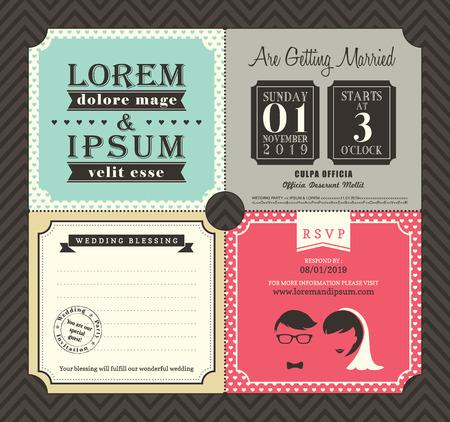 Vintage-Stil Karten-Hochzeits-Einladungs-Schablone Vektor
