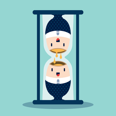 Time concept with a hourglass vector cartoon illustration Vector