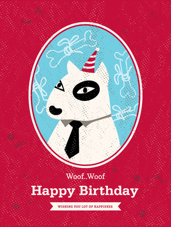 Cute bull terrier Dog Cartoon Birthday card design Vector
