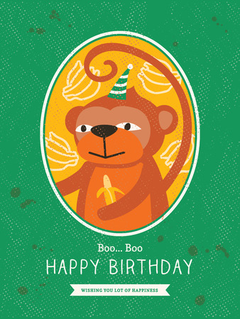 Cute Monkey Animal Cartoon Birthday card design Vector
