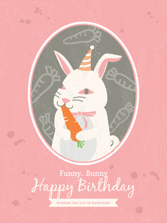 Cute rabbit Animal Cartoon Birthday card design Vector