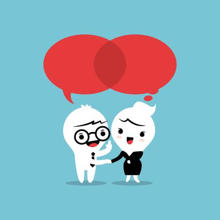 dos personas conversando: Dos personas que hablan con las burbujas del discurso de di�logo Vectores