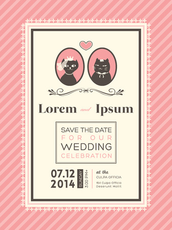 Cute Wedding invitation design frame template Vector