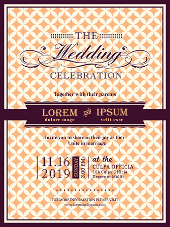 wedding invitation: Ribbon banner Wedding invitation frame template Illustration