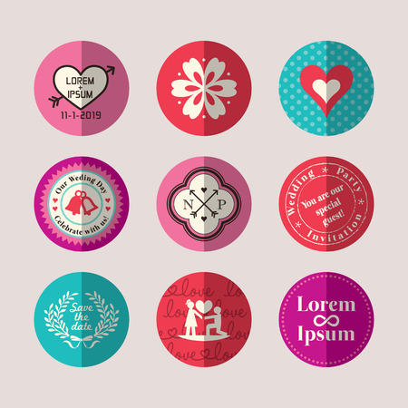 Modern Style Wedding symbol flat design icon set for tag label sticker Vector
