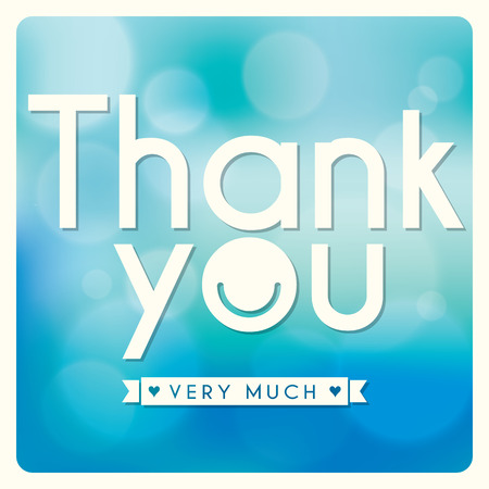 blue you: Thank You card design on blue background Illustration