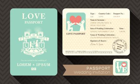 Tarjeta de la invitación plantilla de diseño pasaporte de la boda