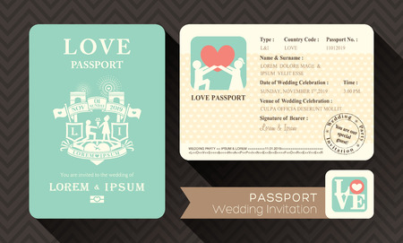 pasaportes: Tarjeta de la invitaci�n plantilla de dise�o pasaporte de la boda Vectores