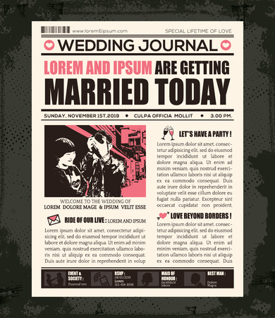 Newspaper Style Wedding Invitation Vector Design Template Çizim