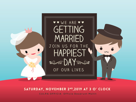 wedding invitation board with cute groom and bride cartoon Illustration