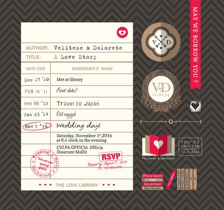 library: Library card Idea Wedding Invitation design Illustration