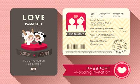 boarding card: Cartoon Passaporto modello di card design invito a nozze