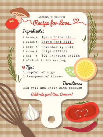 Recept creatief ontwerp van het Huwelijk van de uitnodiging met het koken begrip