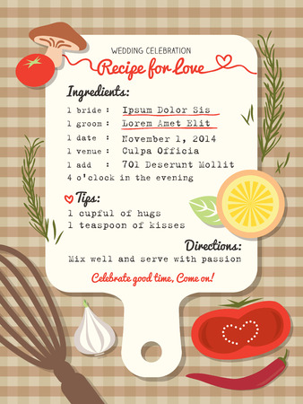 recipe card: Recipe card creative Wedding Invitation design with cooking concept
