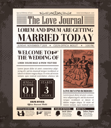 Vintage Newspaper Journal Wedding Invitation Vector Design Template