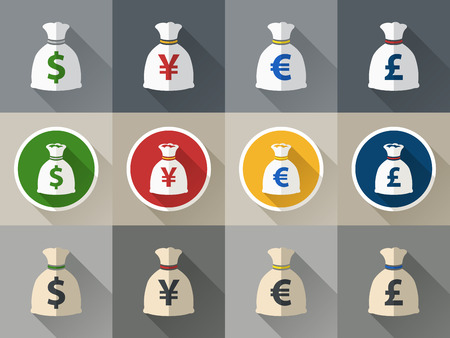 money sack: Money bag icon set with currency symbol flat design verctor