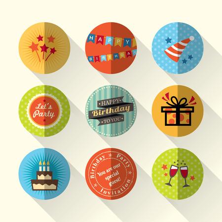 word art: Birthday party flat icon set vector